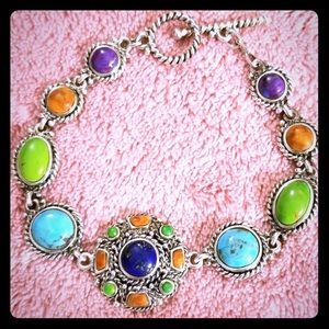 Vintage Turquoise Lapis Sterling Silver Bracelet